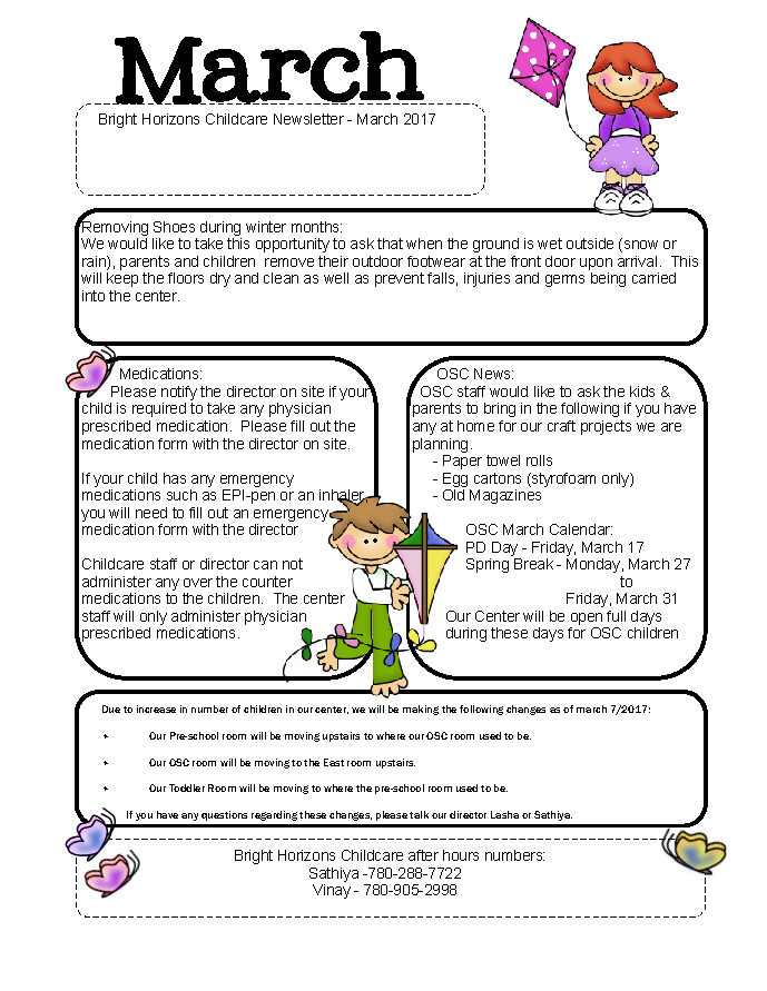 March Day Care Newsletter