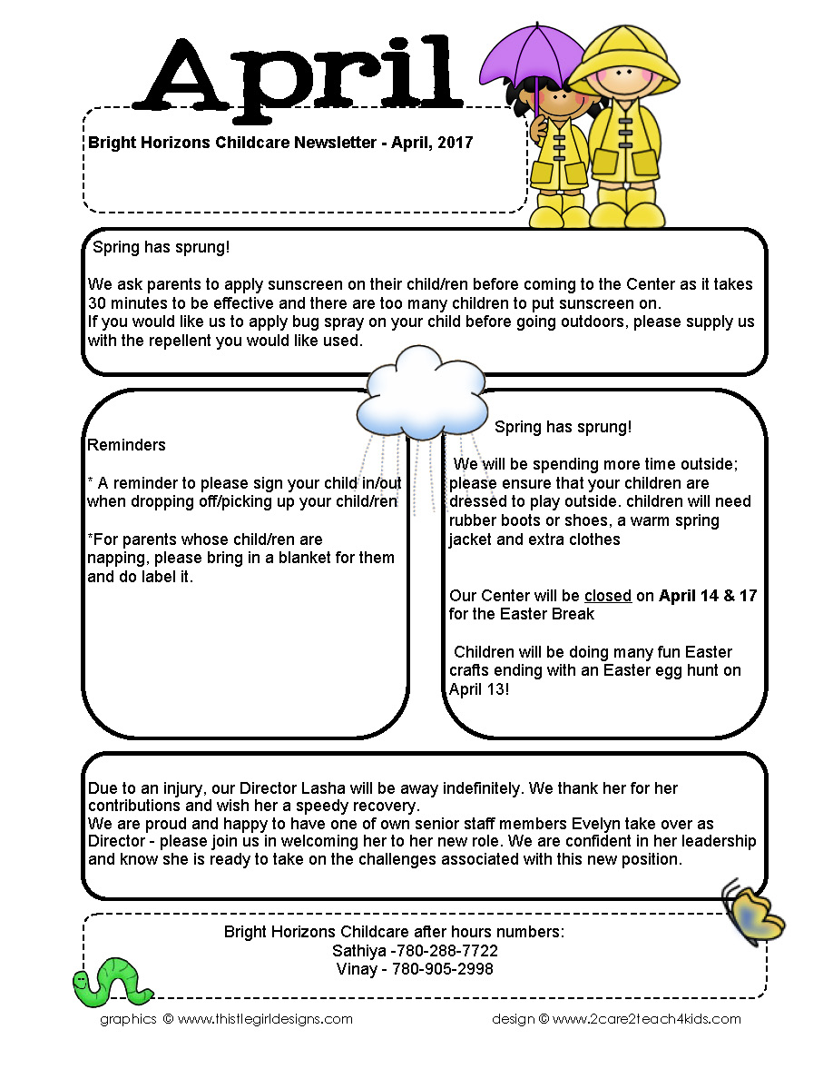 April Childcare Newsletter
